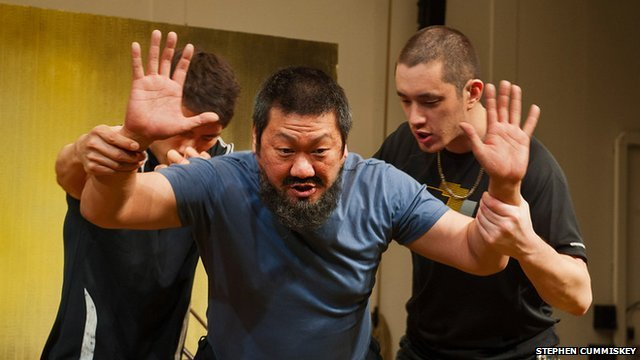 Christopher Goh, Benedict Wong and Andrew Koji in #aiww: The Arrest of Ai Weiwei by Howard Brenton