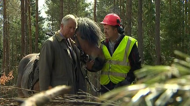 Prince Charles talks to an estate worker in Balmoral