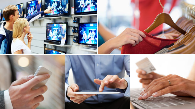 Composite: people looking at TVs in shop; trying on clothes; a smartphone, a tablet and a PC with credit card