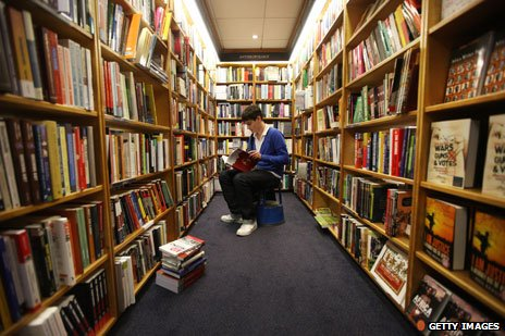 Student browsing in bookshop
