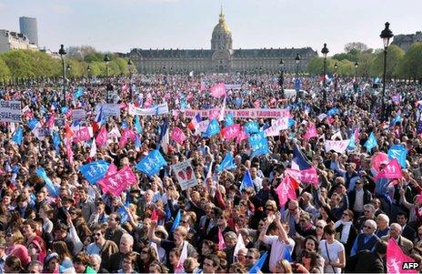 Demonstrators against gay marriage in Paris, 21 April