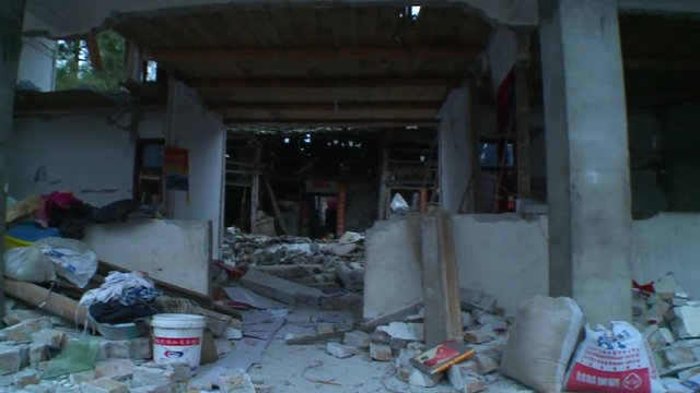 Earthquake damaged house