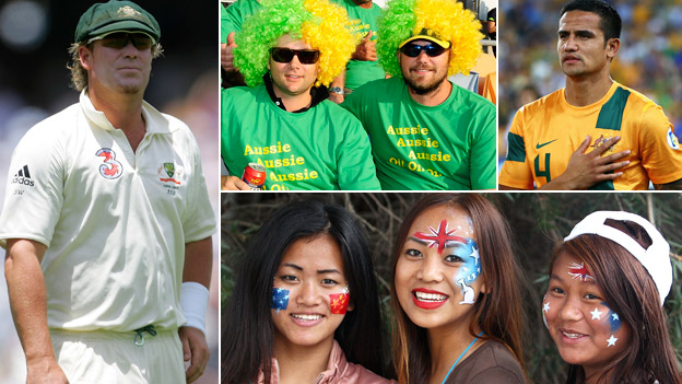 Composite image showing, clockwise from top left: Cricketer Shane Warne playing in a test match for Australia, two Australian rugby union fans dressed in green and yellow wigs, Australian footballer Tim Cahill and three Asian women wearing Australian-flag face paint at a citizenship ceremony during the 2013 Australian Open tennis tournament