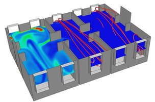 The researchers used computer modelling to trace air flows through open and partitioned wards