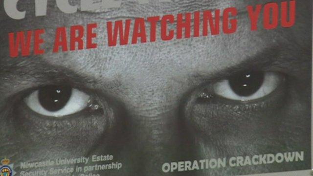 Newcastle University poster showing staring eyes