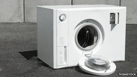 A broken and discarded washing machine