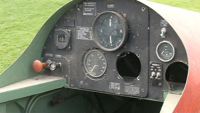 The cockpit of the plane