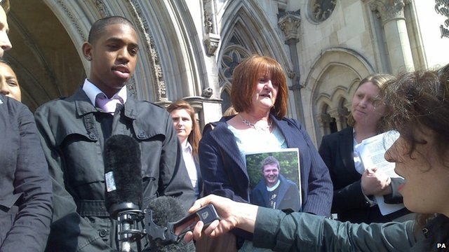 Hughes Cousins-Chang with Ann Thornber (right), the mother of suicide victim Edward Thornber