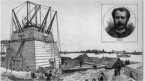 Drawing of the Statue of Liberty's base and pedestal