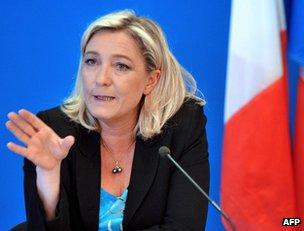 Marine Le Pen in Nanterre, near Paris, 26 March