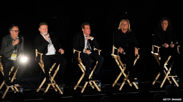 """Director of the Sundance Film Festival John Cooper, Musicians Don Henley, Glenn Frey, Joe Walsh and Timothy B. Schmit of The Eagles speak at the """"History Of The Eagles Part One"""" screening during Sundance London Film And Music Festival 2013 at Sky Superscreen O2 on April 25, 2013 in London,"""