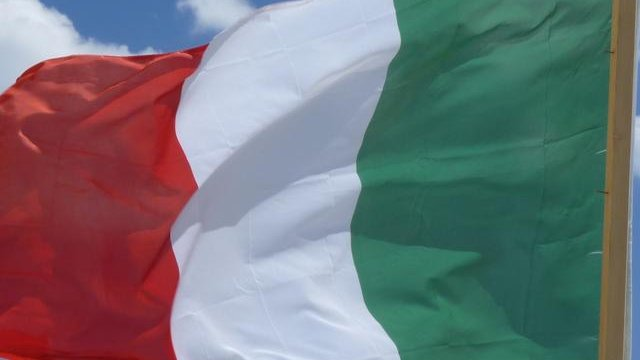 Italian flag flying