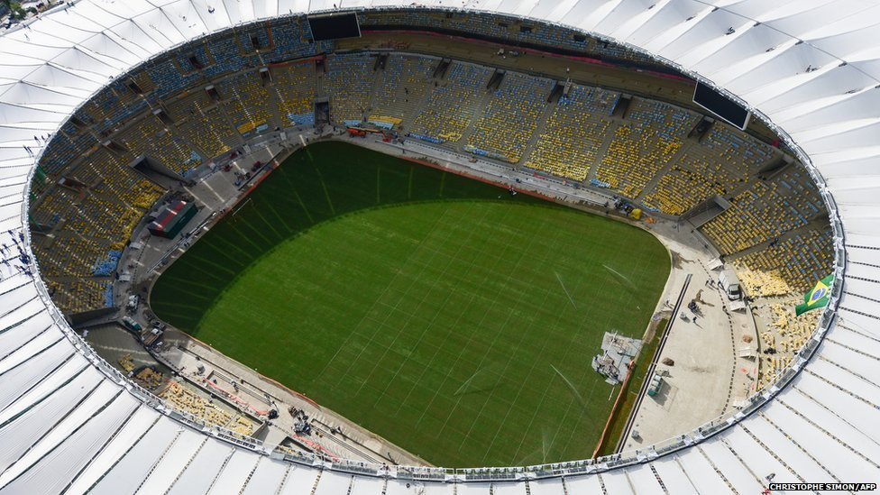 Aerial view of the Maracana stadium with its roof already finished, in Rio de Janeiro, Brazil on April 11, 2013.