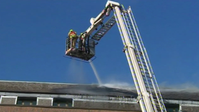 Fire fighters at the National Library of Wales
