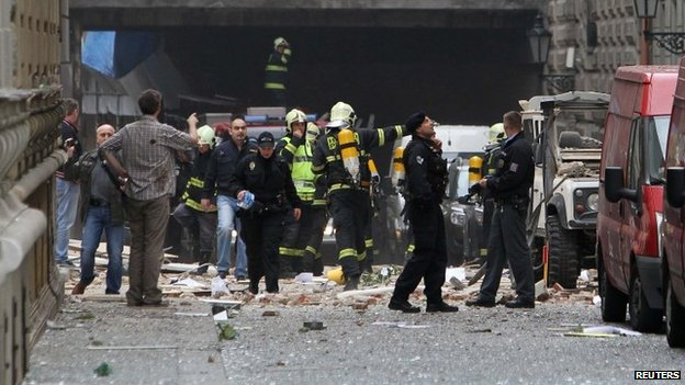 Emergency services at the scene of the blast