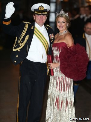Crown Prince Willem Alexander and Princess Maxima of The Netherlands attend the Gala dinner for the wedding of Prince Guillaume Of Luxembourg and Stephanie de Lannoy at the Grand-ducal Palace on October 19, 2012 in Luxembourg, Luxembourg