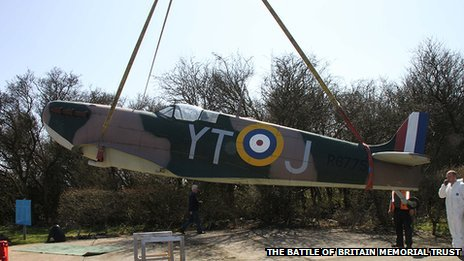 Replica Spitfire being loaded