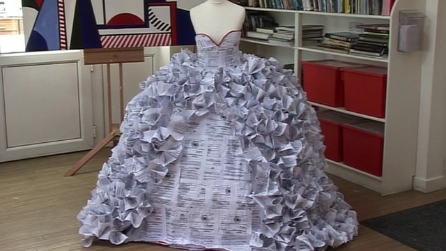 Demi Barnes' wedding dress made out of divorce papers