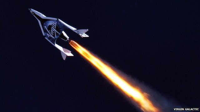 SpaceShipTwo igniting its engine