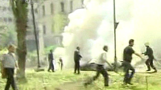 Still of Damascus blast from Syrian state TV