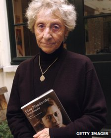Denise Epstein with a copy of her mother's book