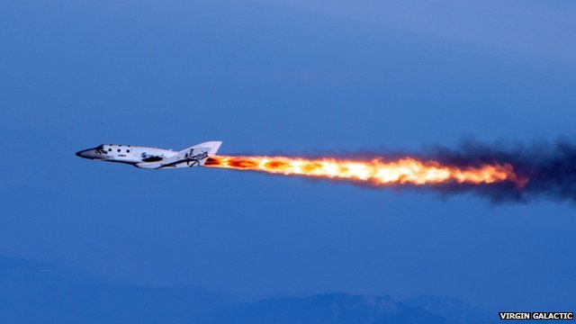 SpaceShipTwo under rocket power