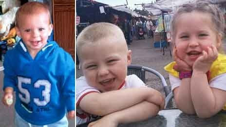 Lee-Anna Shiers' son Charlie, and nephew Bailey, four, and niece Skye, tw