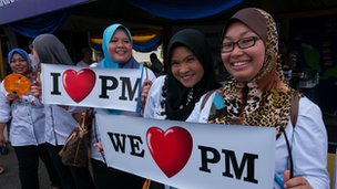 Supporters of the Barisan Nasional coalition