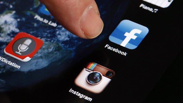 Facebook app logo on a mobile device