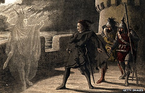 Hamlet confronting the ghost of father (1850 illustration)