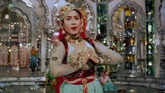 A Bollywood actress singing in Mughal E Azam
