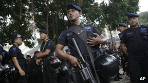 Police outside the Burmese embassy in Jakarta on 3 May 2013