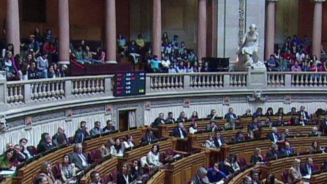 Protesters in Portuguese parliament