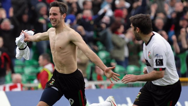 Andrew Waterworth celebrates after scoring for Glentoran in the Irish Cup final