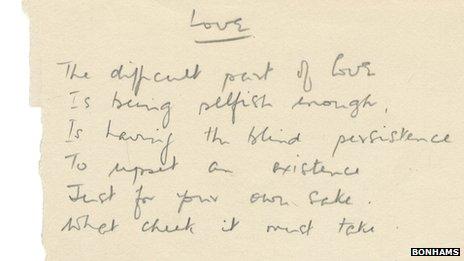 Handwritten poem entitled 'Love'
