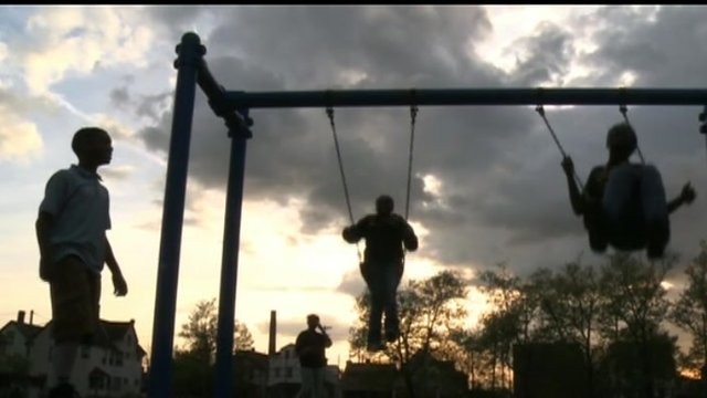Children on a swing in Cleveland