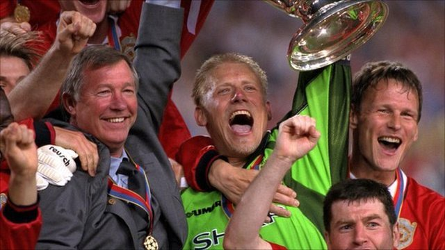 Sir Alex Ferguson celebrates winning the Champions League in 1999