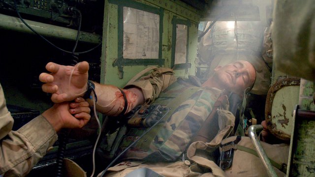 US soldier receiving treatment in Iraq