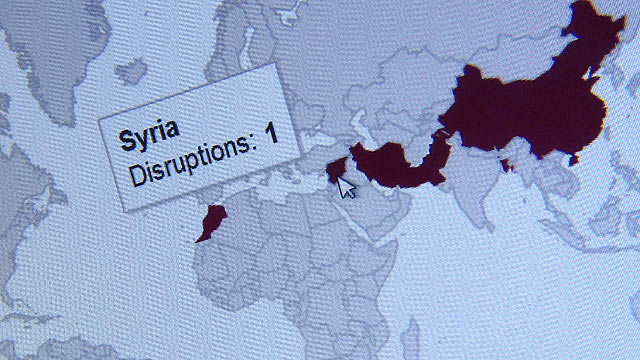 Map showing internet disruption in Syria