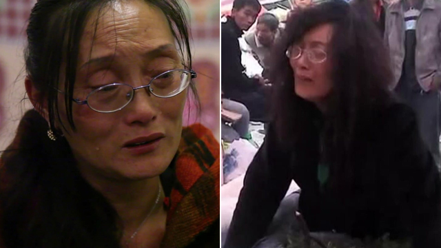 A mother whose daughters died when their school collapsed, pictured now and immediately after the quake