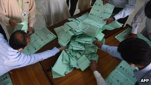 Pakistani election officials count ballot papers at the end of polling in Islamabad