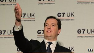 Chancellor George Osborne at a news conference following the G7 meeting