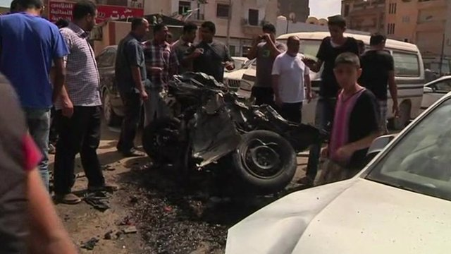 Wreckage of car bomb