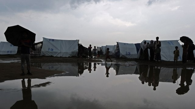 Rohingya Muslims in waterlogged camp