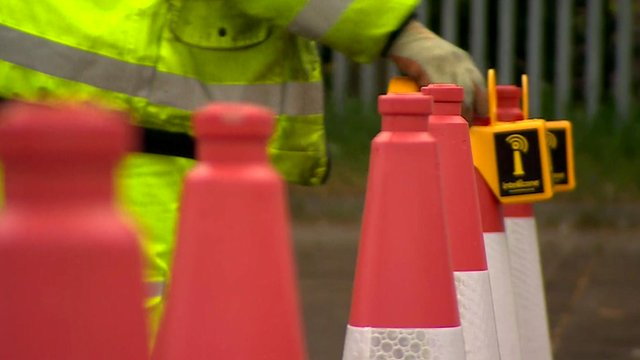 Traffic cones having the alarm fitted