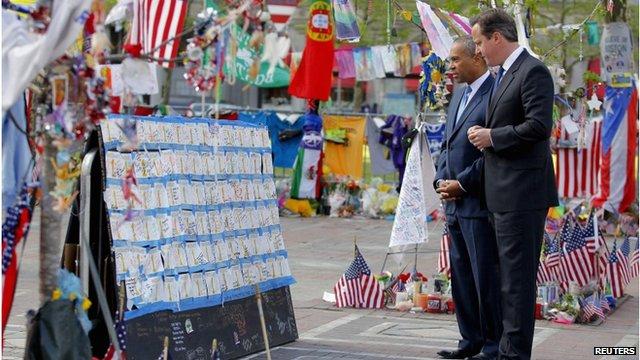 David Cameron at Boston marathon bombing memorial