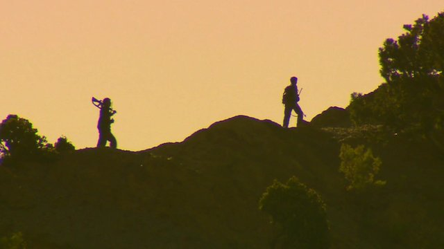Afghan troops at sunset