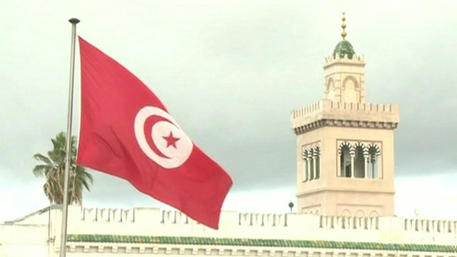 Tunisian flag and building