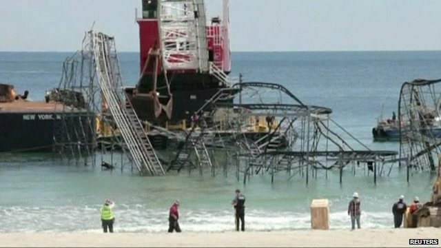 The Jet Star ride is removed from the sea