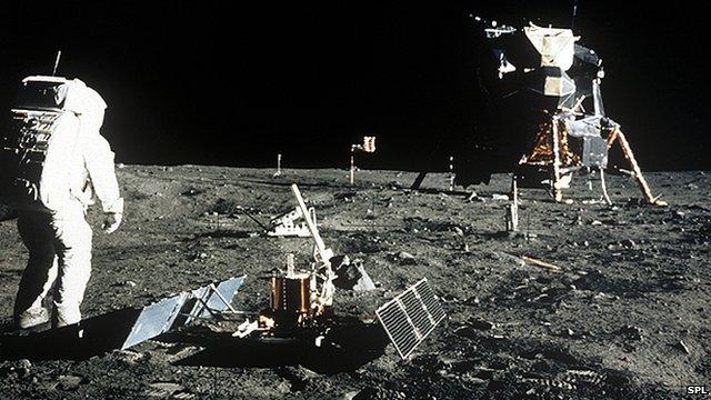 Apollo 11 astronaut Edwin Aldrin Jr photographed near the lunar module